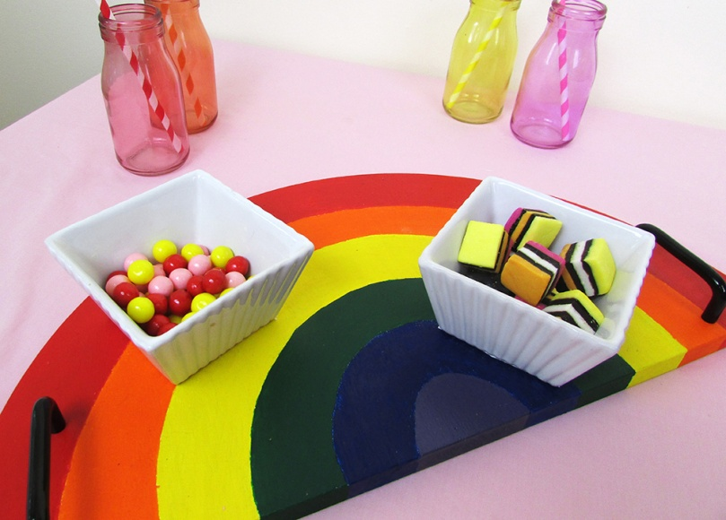 diy project the small adventurer rainbow serving dinner tray