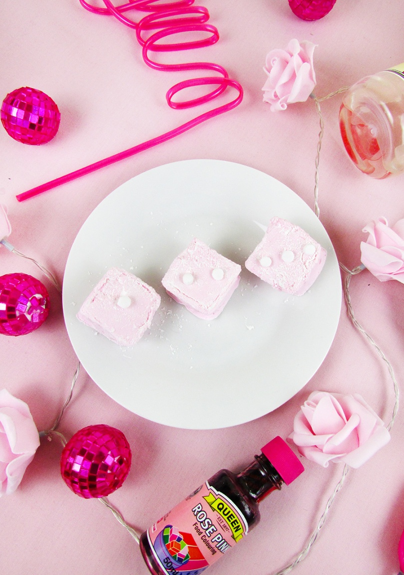 thesmalladventurer fluffy pink dice marshmallows