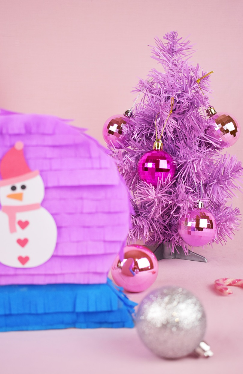 pink christmas tree diy pinata thesmalladventurer