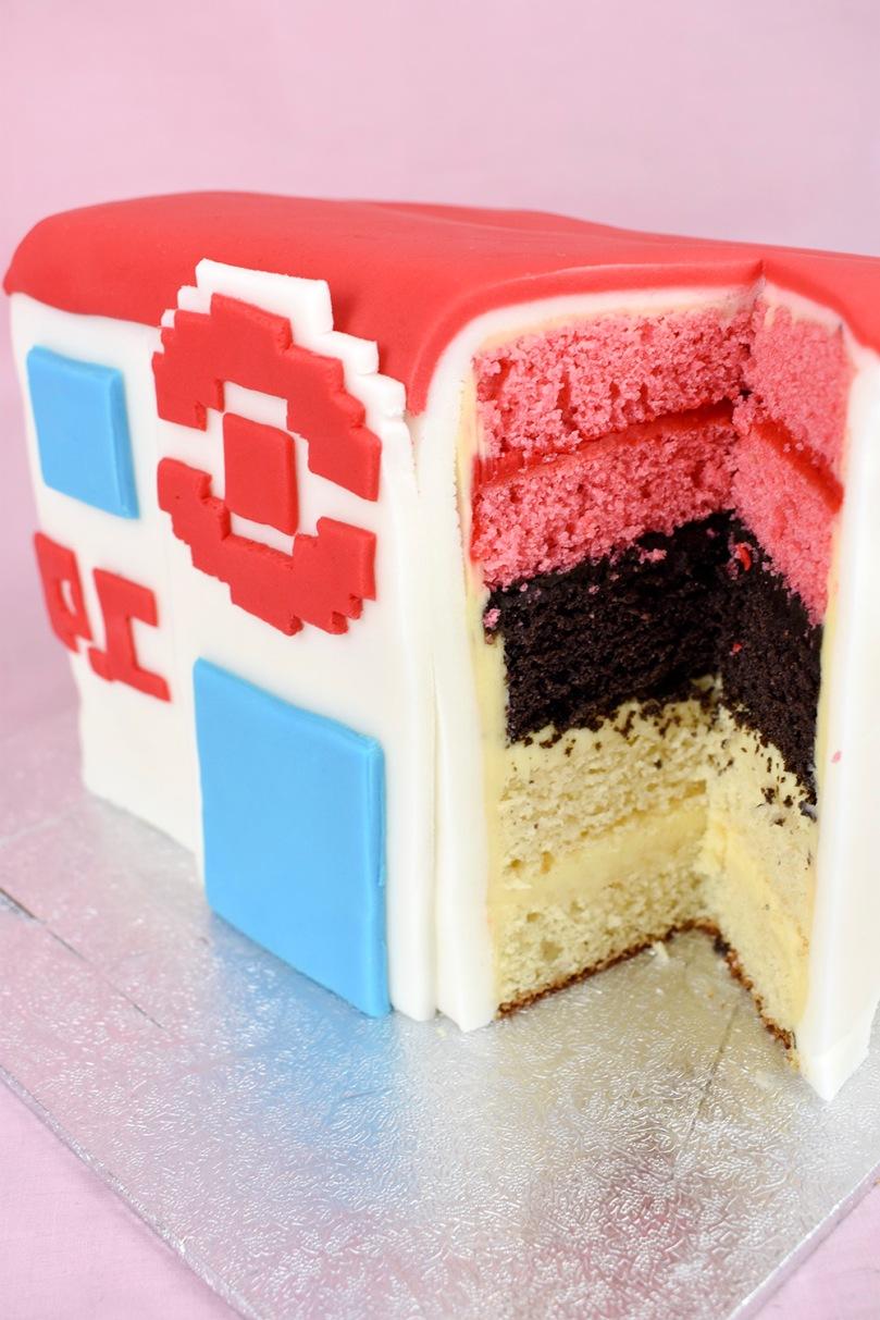 fondant tiered cake firered pokemon centre thesmalladventurer