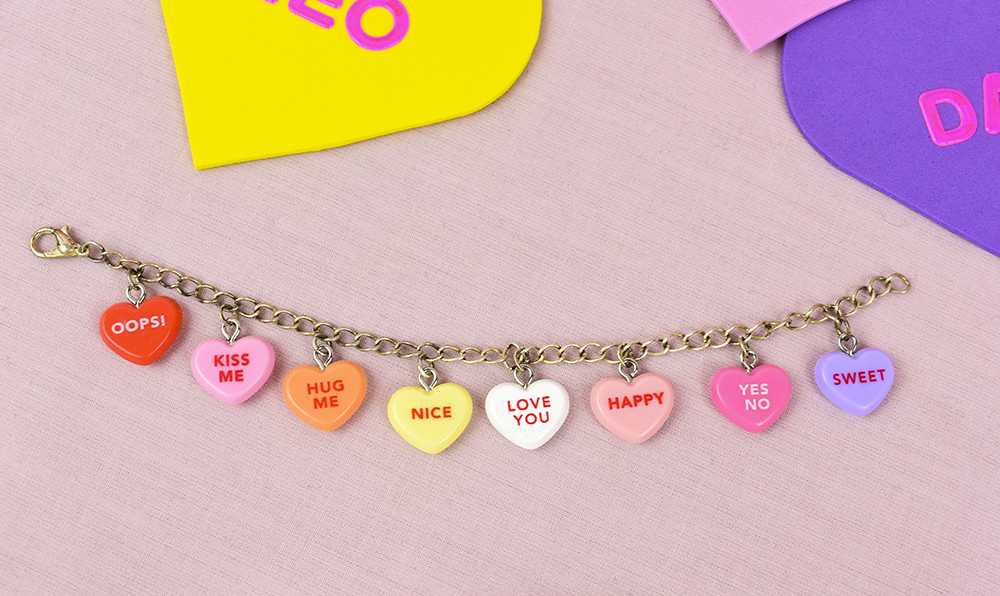 This image has an empty alt attribute; its file name is conversation-heart-charm-bracelet-diy-project-thesmalladventurer.png